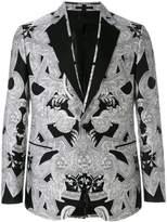 Versace monochrome print tuxedo blazer