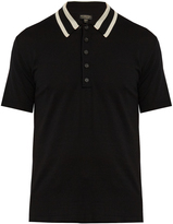 Burberry Striped-collar wool-knit polo shirt