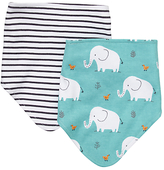John Lewis Stripe and Elephant Dribble Bibs, Pack of 2