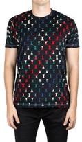 Prada Men's Jersey Cotton Crew Neck Logo Patch T-Shirt Geometry Black