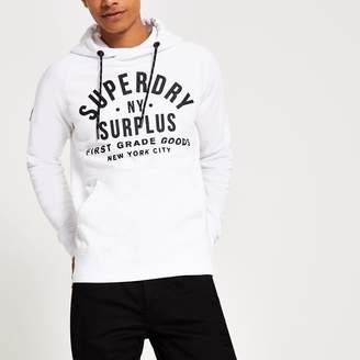 Superdry Mens River Island White logo chest print hoodie