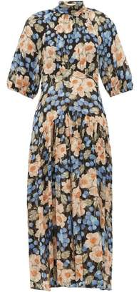 Rebecca Taylor Blush Rose-print Silk-blend Midi Dress - Womens - Pink Multi