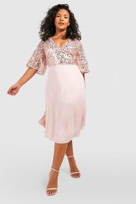 boohoo Plus Occasion Sequin Angel Sleeve Midi Dress