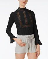 Endless Rose Mock-Neck Crochet-Detail Top