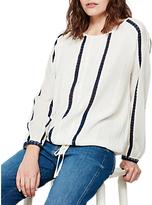 Mint Velvet Stripe Blouson Top, Ivory