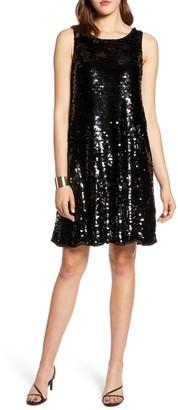 Halogen Sleeveless Sequin A-Line Dress