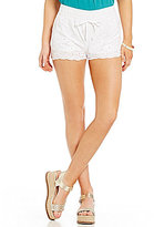 I.N. San Francisco Embroidered Scalloped Hem Soft Shorts