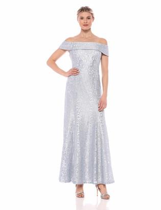 Cachet Women's Long Off The Shoulder Cuff Metallic lace Gown