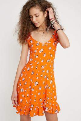 Free People Like A Lady Orange Floral Mini Dress - orange XS at Urban Outfitters