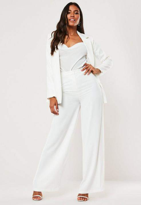 Missguided White Wide Leg Pants