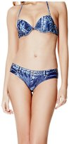 GUESS Denim-Print Cheeky Bikini Bottoms