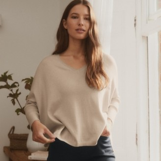 The White Company Ribbed-Sleeve Jumper with Cashmere, Neutral, 6