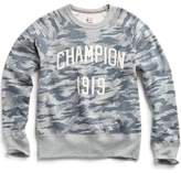 Todd Snyder + Champion Camo Print Sweatshirt with Embroidered Logo in Light Grey Mix