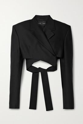 Proenza Schouler Cropped Wool-blend Crepe Blazer - Black