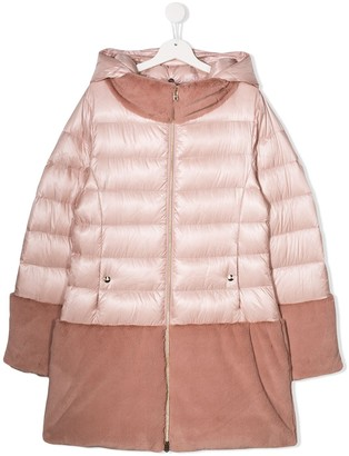 Herno Faux Fur Panel Puffer Coat