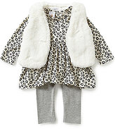 Starting Out Baby Girls 3-24 Months 3-Piece Faux-Fur Vest, Animal-Print Top, and Leggings Set
