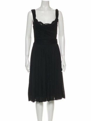 Dolce & Gabbana Cowl Neck Midi Length Dress Black