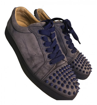 Christian Louboutin Louis junior spike Blue Suede Trainers