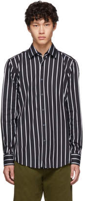 BOSS Black and White Stripe Jango Slim-Fit Shirt