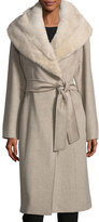 Cinzia Rocca Hooded Mink Fur-Lined Wrap Coat
