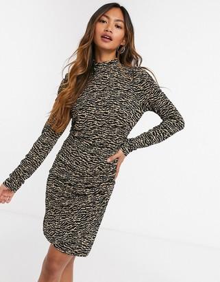 Vero Moda bodycon mini dress with high neck in tan zebra print