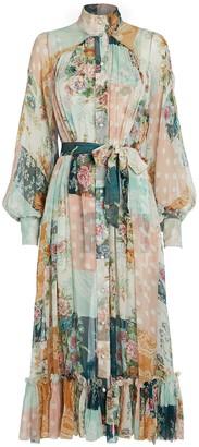 Zimmermann Wavelength Smocked Silk Dress