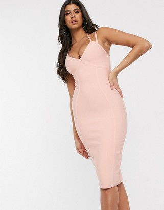 Band Of Stars bandage strappy bodycon dress in light coral
