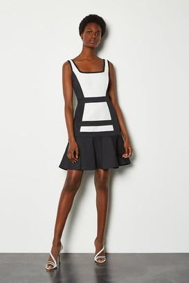Karen Millen Colour Blocked Cotton Sateen Flippy Hem Dress