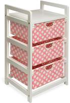 Badger Basket Three Drawer Hamper/Storage Unit White/Pink Polka Dot