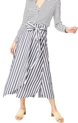 Court & Rowe Wide Stripe Tie Waist Cotton Blend Skirt