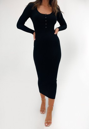 Missguided Black Popper Front Long Sleeve Knitted Midaxi Dress
