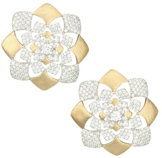Adriana Orsini Zena 18K Yellow Goldplated Sterling Silver & Cubic Zirconia Floral Button Earrings