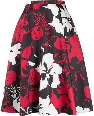 No.21 Floral Print Flared Skirt