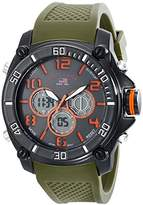 U.S. Polo Assn. Sport Men's US9185 Gunmetal-Tone Watch with Green Band
