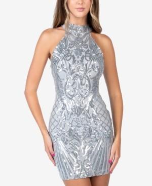 B. Darlin Juniors' Sequin Cutout-Back Halter Dress