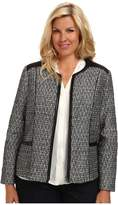 NYDJ Plus Size Plus Size Metallic Leather Tweed Jacket