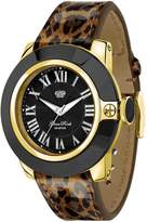 Glam Rock Women's 44mm Multicolor Leather Band Gold Plated Case Swiss Quartz Dial Watch GR32026