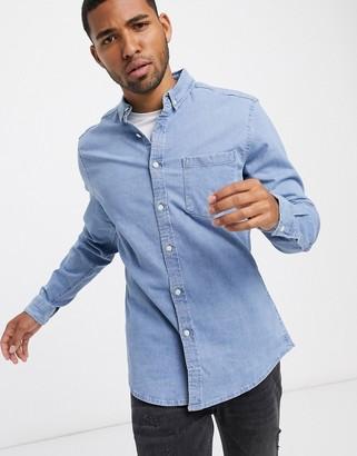 ASOS DESIGN stretch slim organic denim shirt in bleach wash