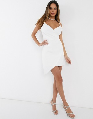 Club L London wrap asymmetric cami mini dress-White