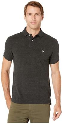 Polo Ralph Lauren Custom Slim Fit Mesh Polo (Black Marl Heather) Men's Clothing
