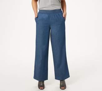 Denim & Co. Petite Stretch Denim Wide-Leg Pants