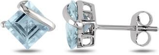 Miadora 10k White Gold Square-cut Aquamarine Earrings