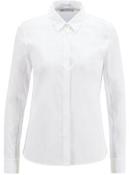 HUGO BOSS Slim Fit Blouse In Stretch Fabric With Jersey Back - White