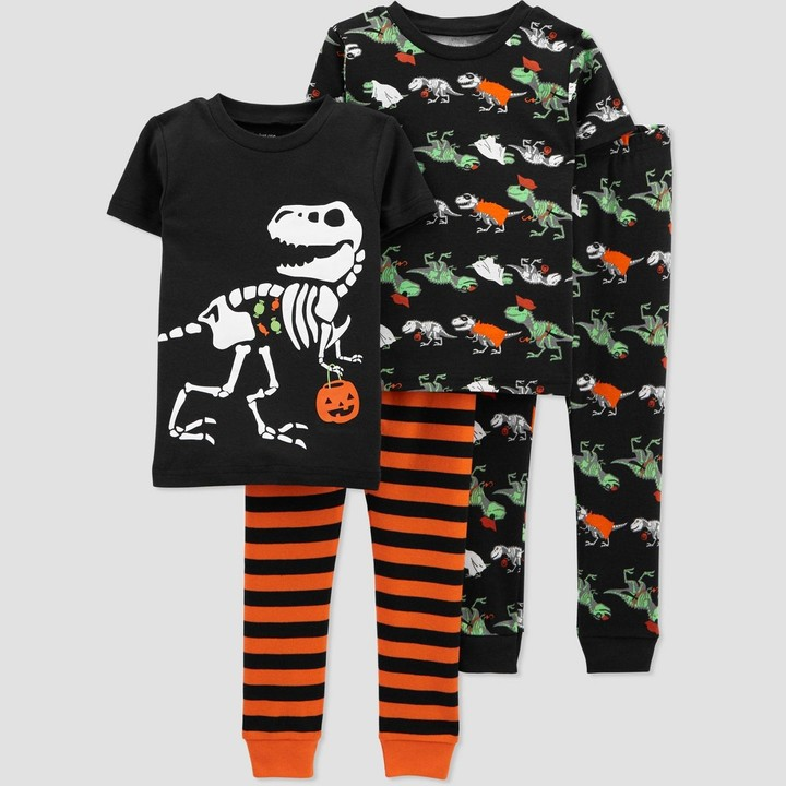 Carters Toddler Boy 4 Pc Cotton Pajama PJS Set Dinosaur Wrap Around