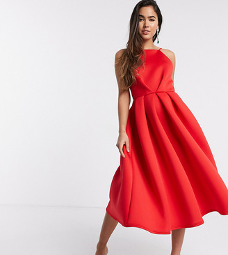 True Violet exclusive backless prom midi dress in red
