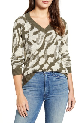 Caslon Camo Jacquard V-Neck Sweater