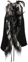 Ann Demeulemeester Feather And Goat Hair-trimmed Wool-blend Vest - Black