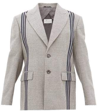 Maison Margiela Striped Single Breasted Houndstooth Wool Jacket - Womens - Grey Multi