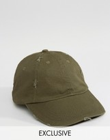 Reclaimed Vintage Distressed Baseball Cap In Khaki