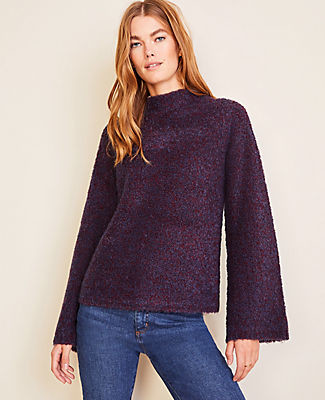 Ann Taylor Boucle Flare Sleeve Cozy Sweater
